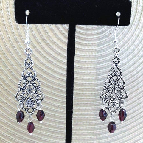 Garnet Stone Antique Silver Dangle Earrings