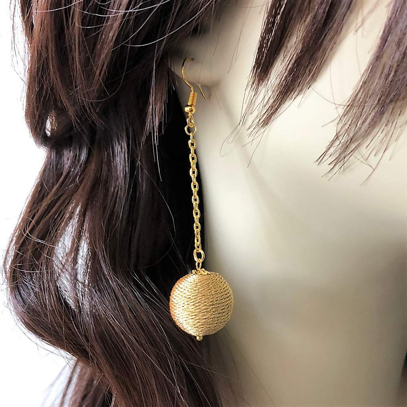 Gold Ball Long Dangle Earrings - JaeBee Jewelry