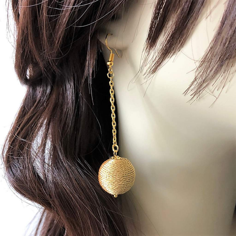 Gold Ball Long Dangle Earrings
