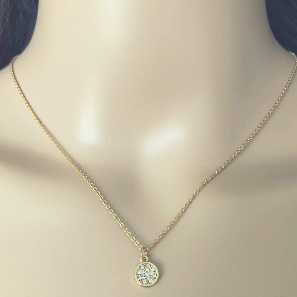 Gold and Crystal Flower Pendant Necklace - JaeBee Jewelry