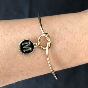 Gold Cuff Personalized Initial Bracelet In Black or White - JaeBee Jewelry