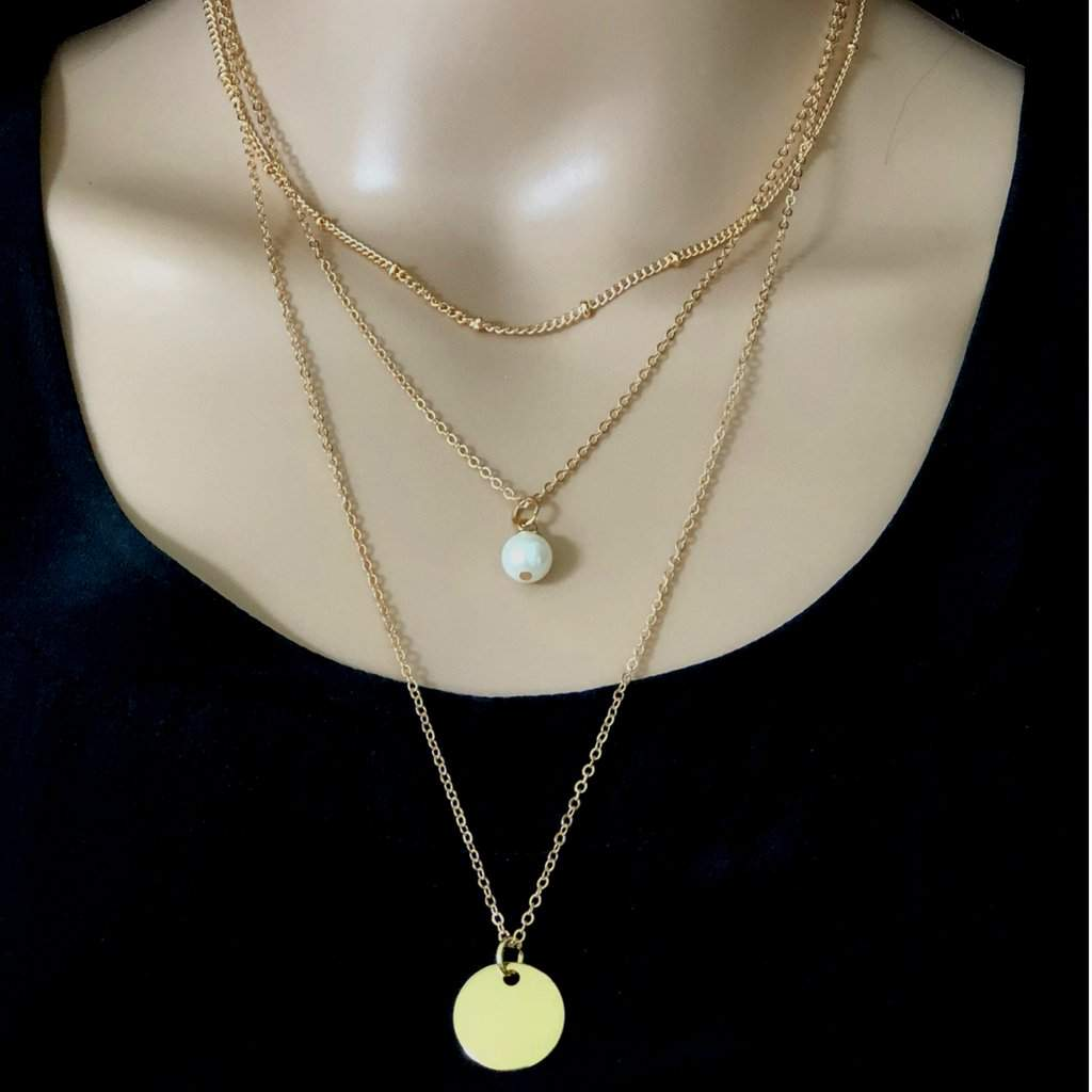 Gold Layered Pearl Drop and Disc Necklace - JaeBee Jewelry
