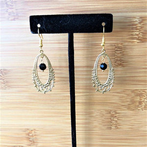 Gold Ornate Oval and Black Crystal Drop Earrings - JaeBee Jewelry