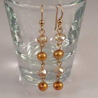 Gold Freshwater Pearl Earrings with Swarovski Crystals - JaeBee Jewelry