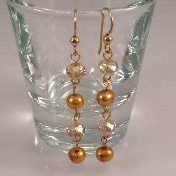 Gold Freshwater Pearl Earrings with Swarovski Crystals