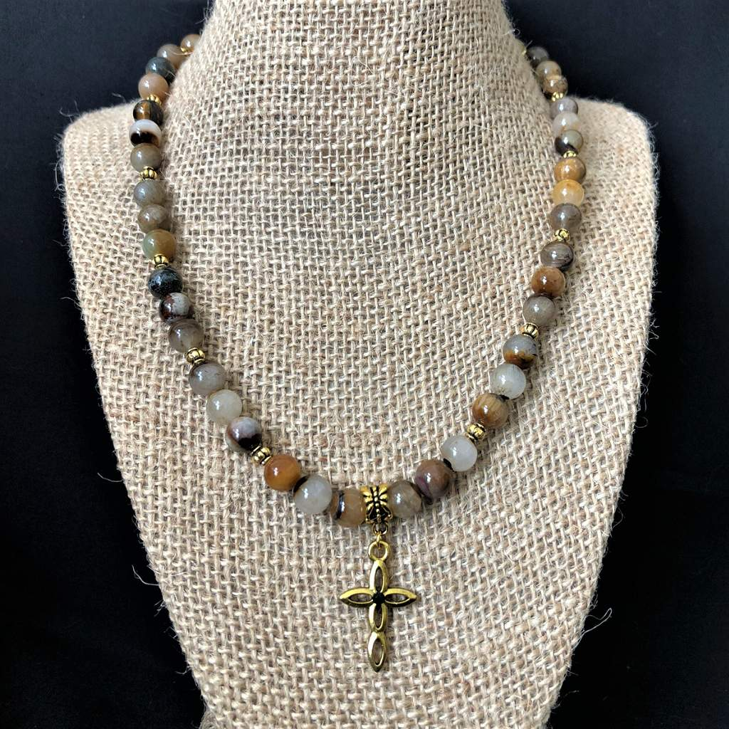 Mens Golden Wooden Jasper Beaded Cross Necklace