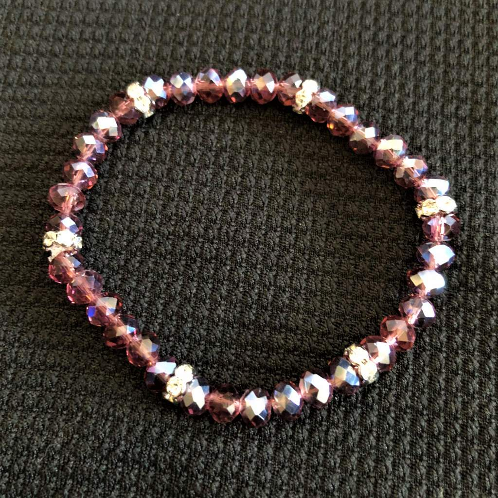 Grape Crystal Beaded Stretch Bracelet - JaeBee Jewelry