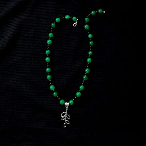 Green Agate and Black Onyx Beaded Necklace With Silver Leaf Charm - JaeBee Jewelry