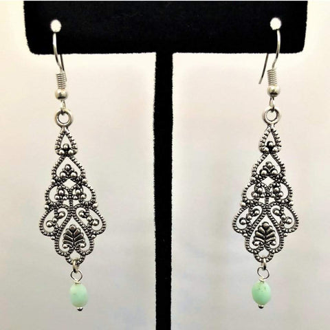 Chrisolas Single Stone Green Antique Silver Dangle Earrings