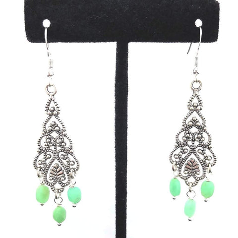 Chrisolas Green Stone Antique Silver Dangle Earrings