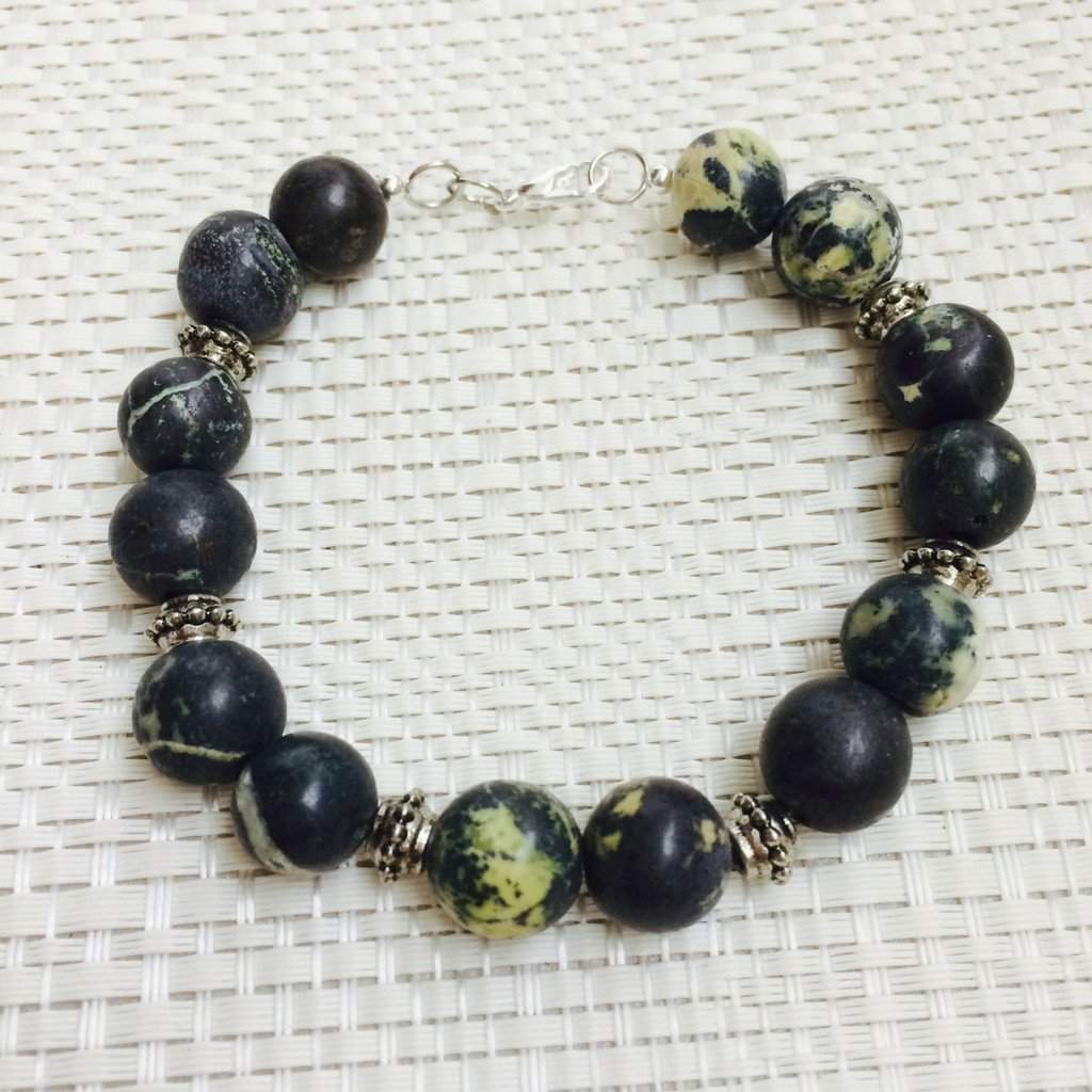 Men's Green and Yellow Magnetite and Silver Beaded Bracelet