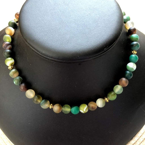 Green Matte Beaded Necklace