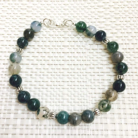 Men's Green Moss Agate Moss Beaded Bracelet