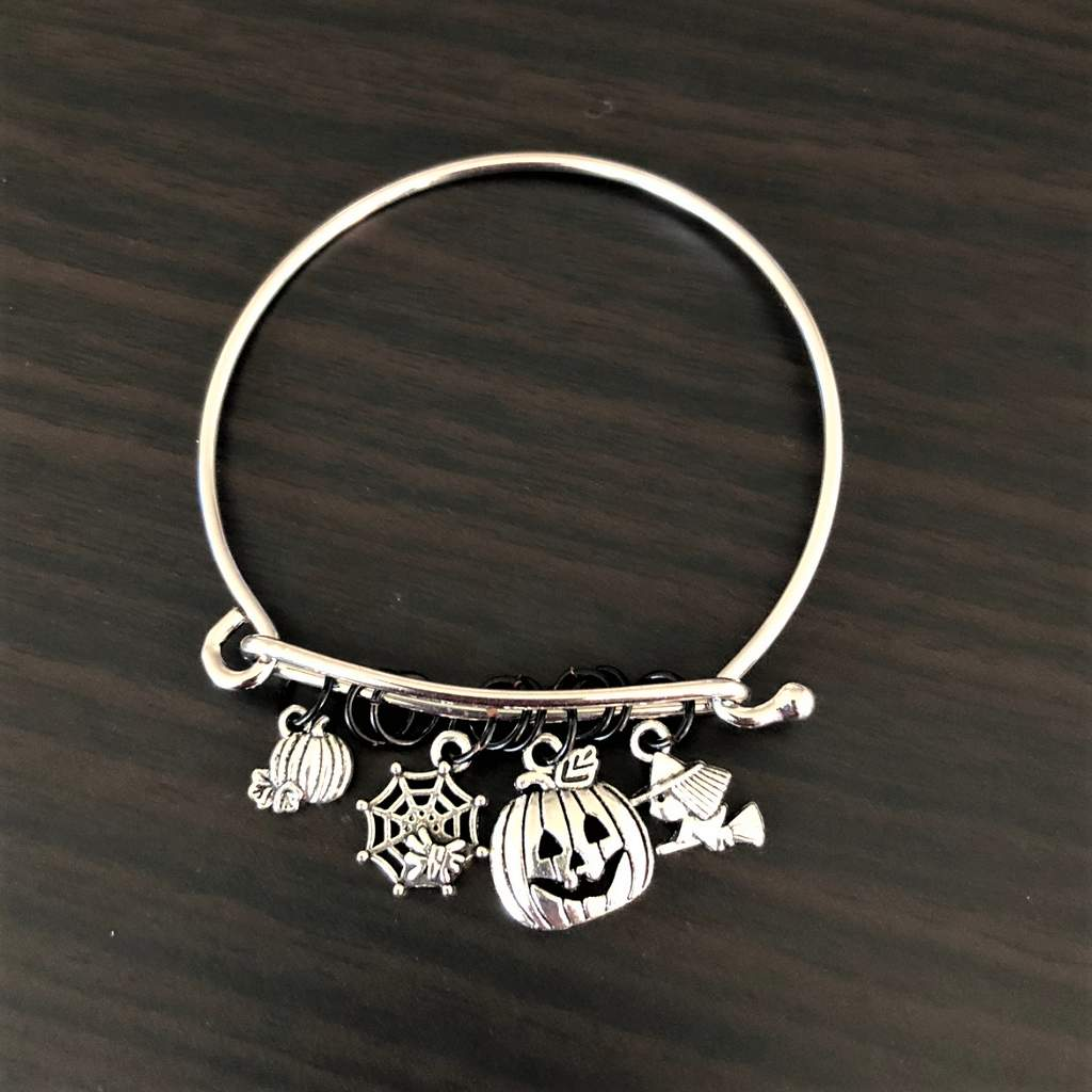 Silver Adjusted Halloween Pumpkins Witch and Spider Web Bracelet - JaeBee Jewelry