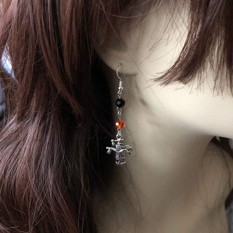 Halloween Scarecrow Silver Dangle Earrings