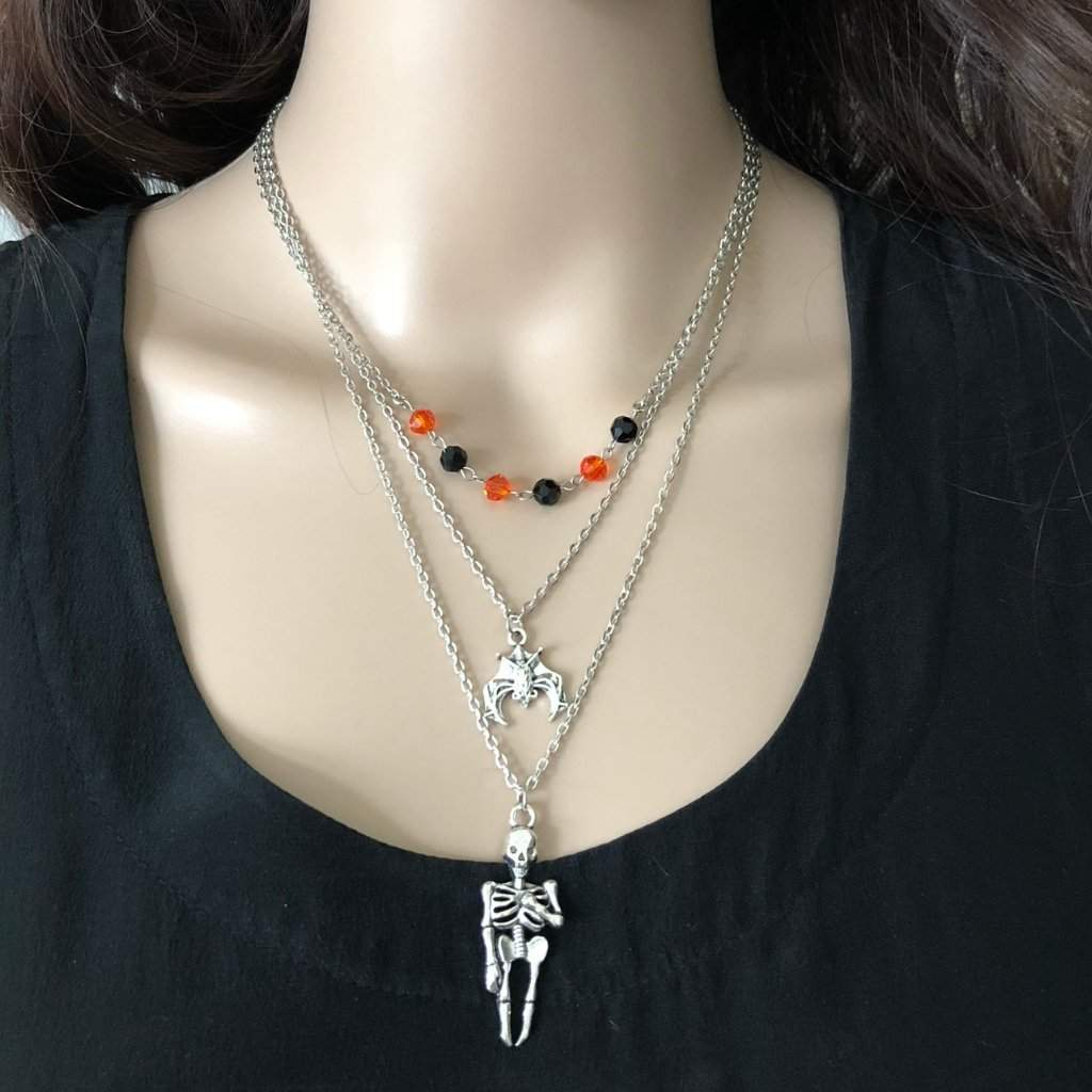 Halloween Skeleton and Bat Layered Necklace - JaeBee Jewelry