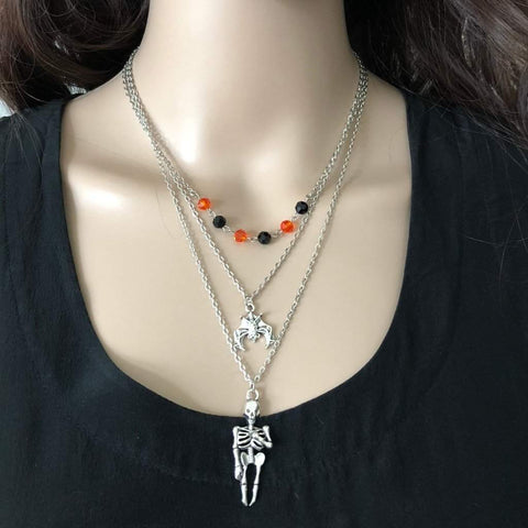Halloween Skeleton and Bat Layered Necklace