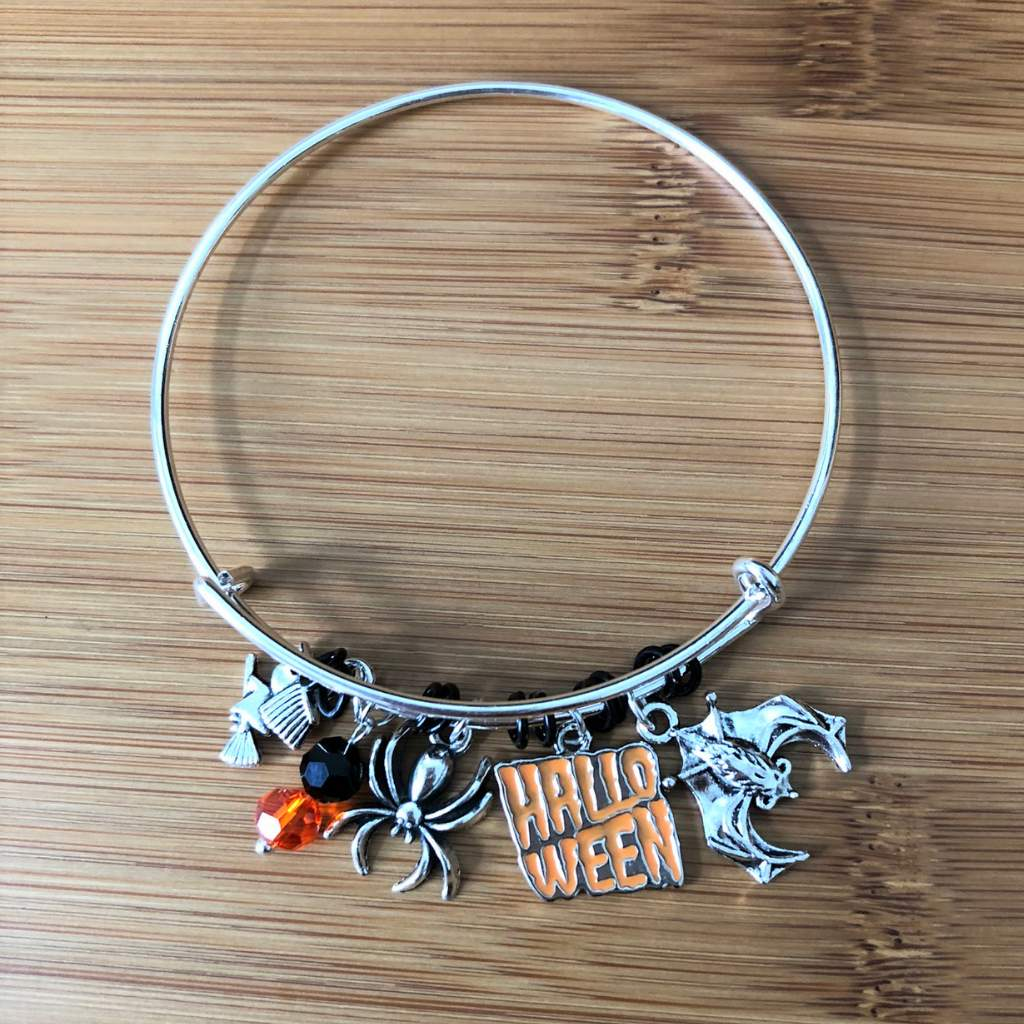 Halloween Witch Spider and Bat Silver Bangle Bracelet