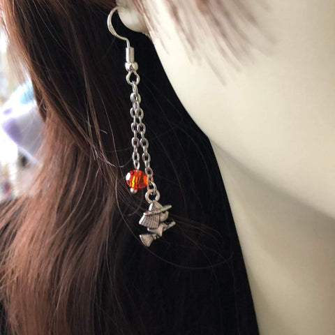 Halloween Witch Long Dangle Earrings