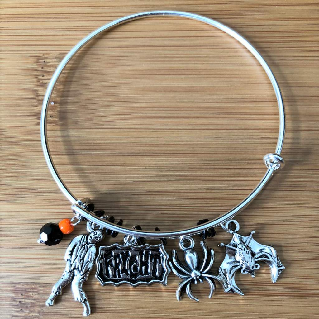 Halloween Silver Bangle Zombie Bat and Spider Bracelet - JaeBee Jewelry