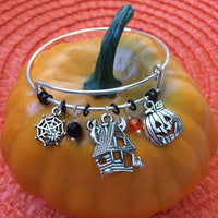 Halloween Haunted House, Spider Web, and Pumpkin Bangle Bracelet - JaeBee Jewelry