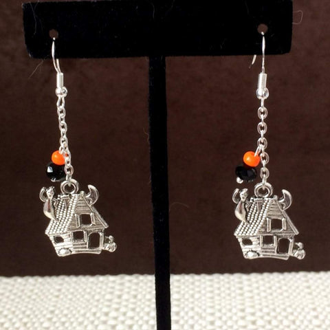 Halloween Haunted House Dangle Earrings