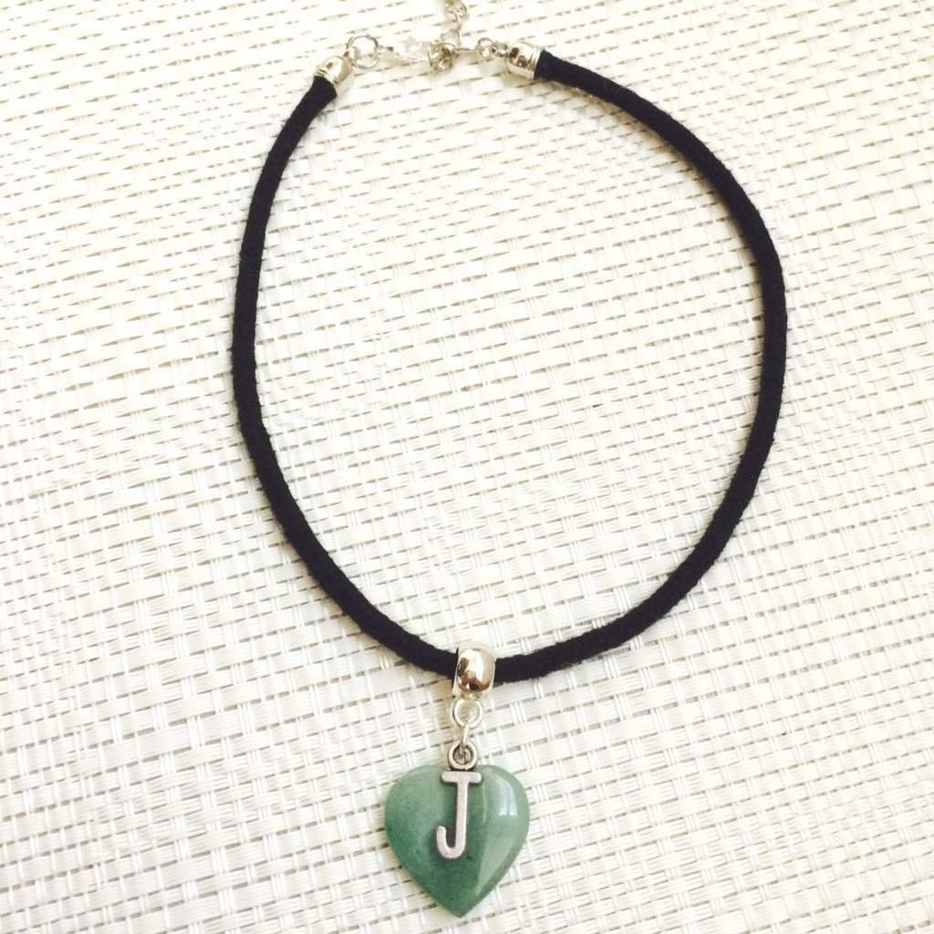 Natural Stone Personalized Heart Initial Pendant Choker - JaeBee Jewelry