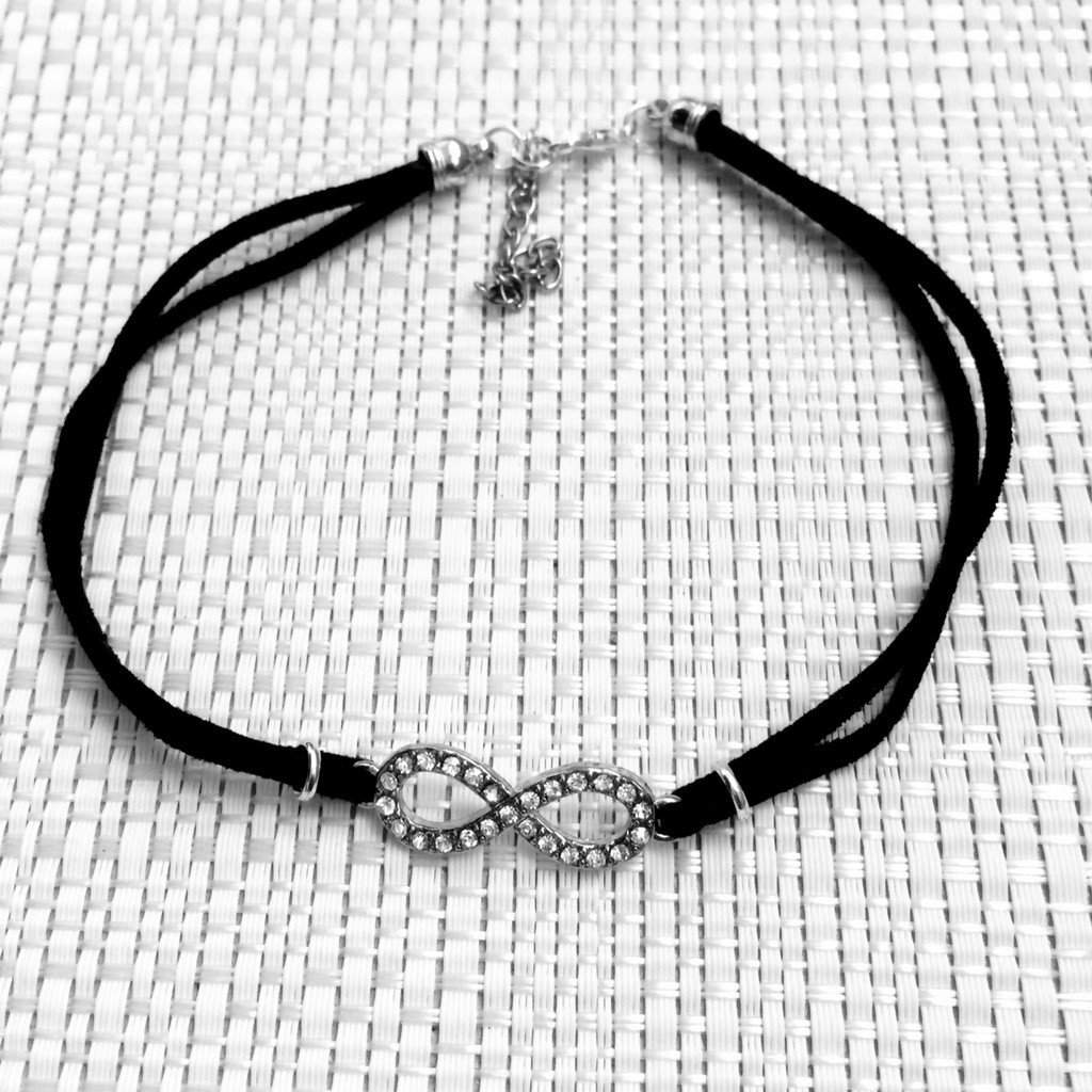 Black Suede Choker with Silver Crystal Infinity Symbol - JaeBee Jewelry