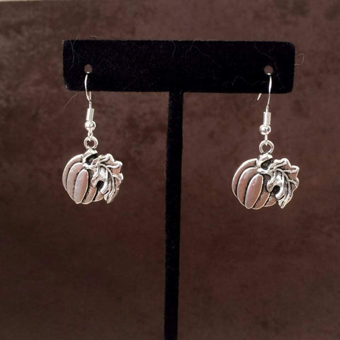 Halloween Silver Pumpkin Earrings