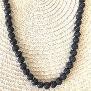 Black Lava Beaded Mens and Womens Necklace - JaeBee Jewelry