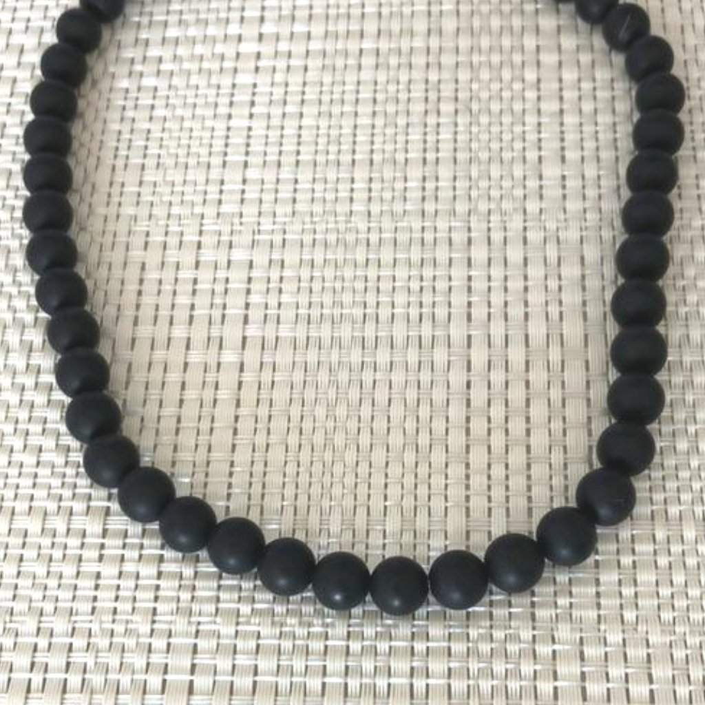 Mens Matte Black Onyx Beaded Long and Short 6mm Necklace - JaeBee Jewelry