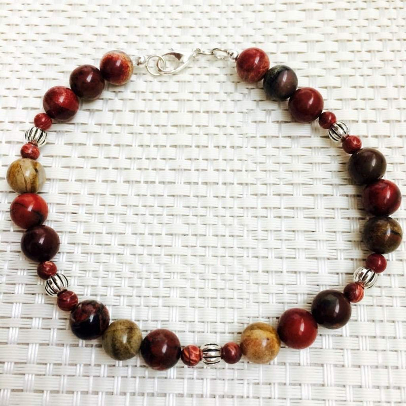 Men's Apple Jasper Beaded Bracelet - JaeBee Jewelry