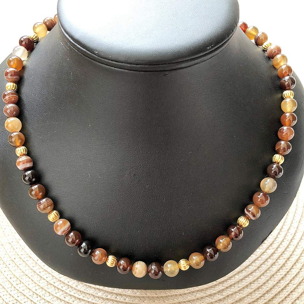 Brown Agate Mens Beaded Necklace - JaeBee Jewelry