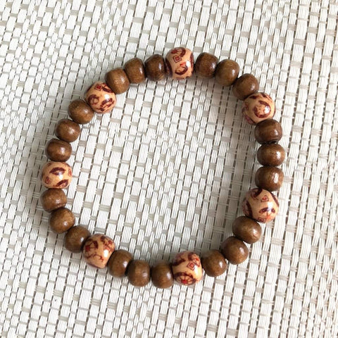 Mens Brown Wood Beaded Stretch Bracelet