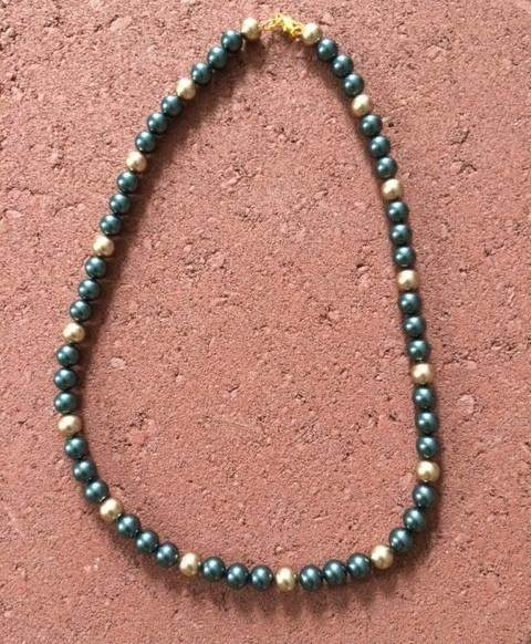 Mens Tahitian Blue and Gold Swarovski Beaded Necklace - JaeBee Jewelry