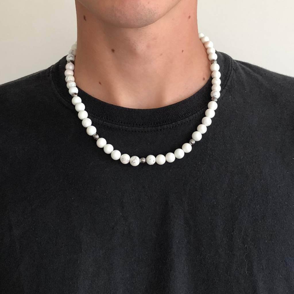White Magnesite Mens Beaded Necklace