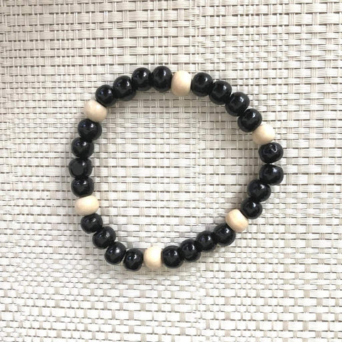 Mens Black and White Wood Bead Bracelet