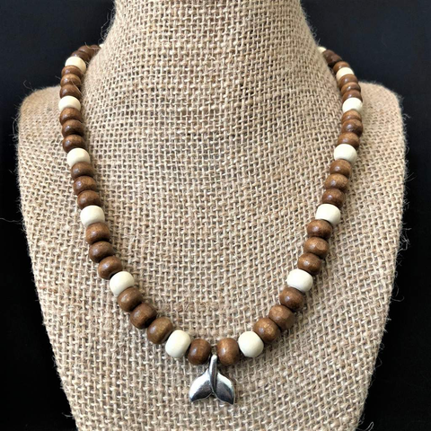 Brown and White Wood Beaded Mens Necklace with Silver Whale Tail Pendant