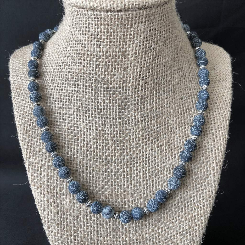 Midnight Blue Fire Agate Matte Mens Necklace