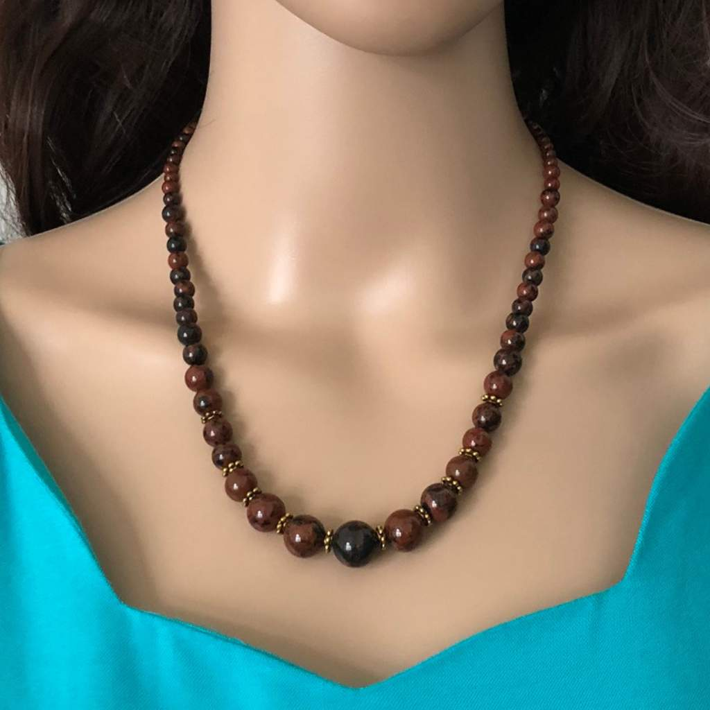 Mahogany Beaded Necklace - JaeBee Jewelry