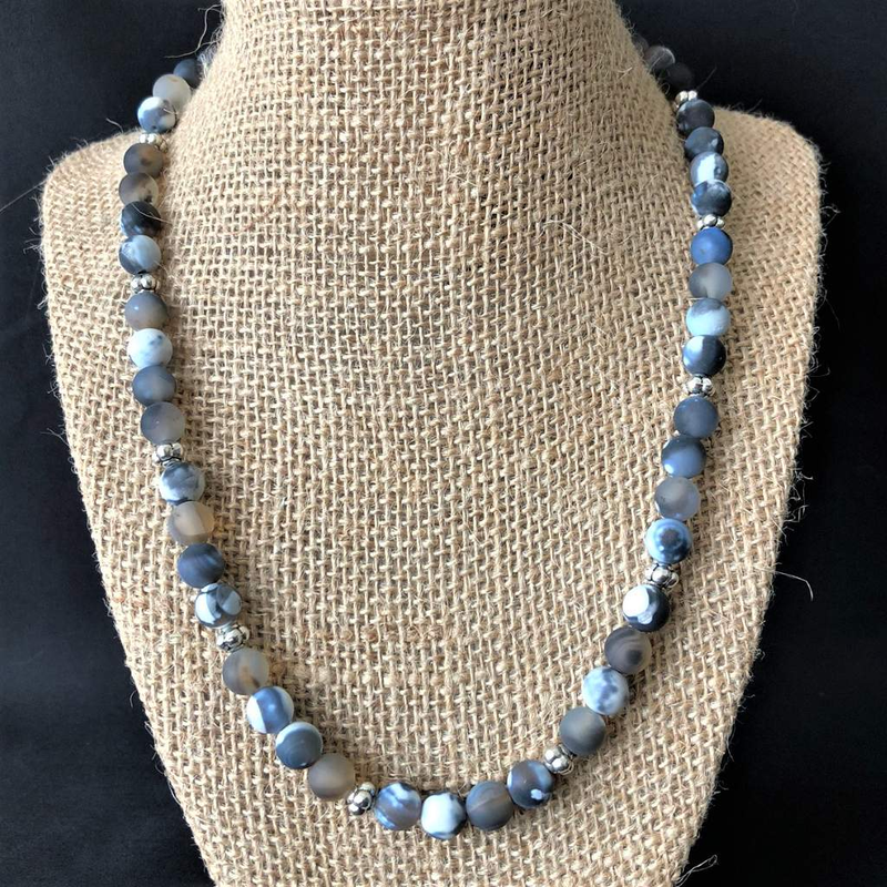 Montana Moss Matte Agate Mens Beaded Necklace - JaeBee Jewelry