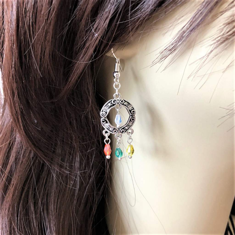 Silver Round Multi Colored Crystal Drop Earrings