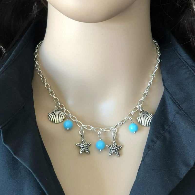 Silver Starfish and Shell Chain Necklace - JaeBee Jewelry