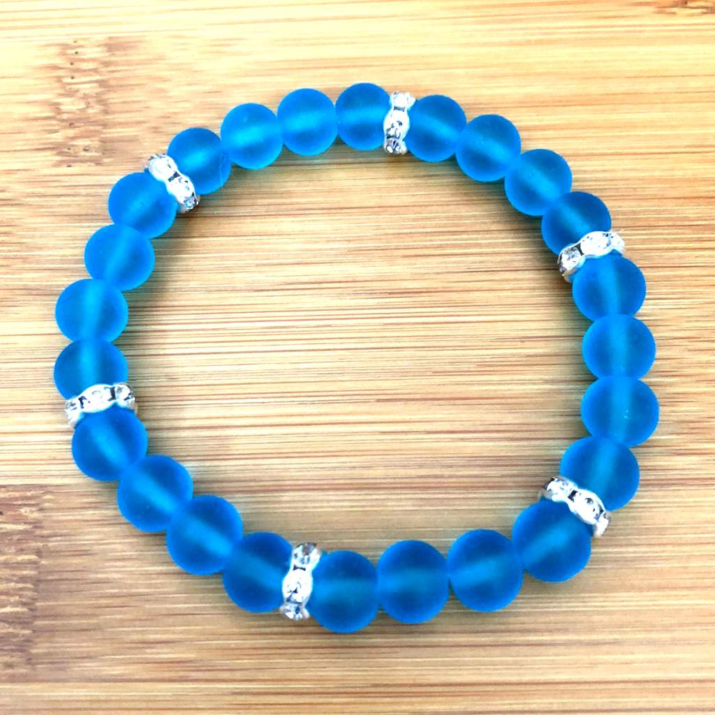 Pacific Blue Matte Glass Beaded Bracelet
