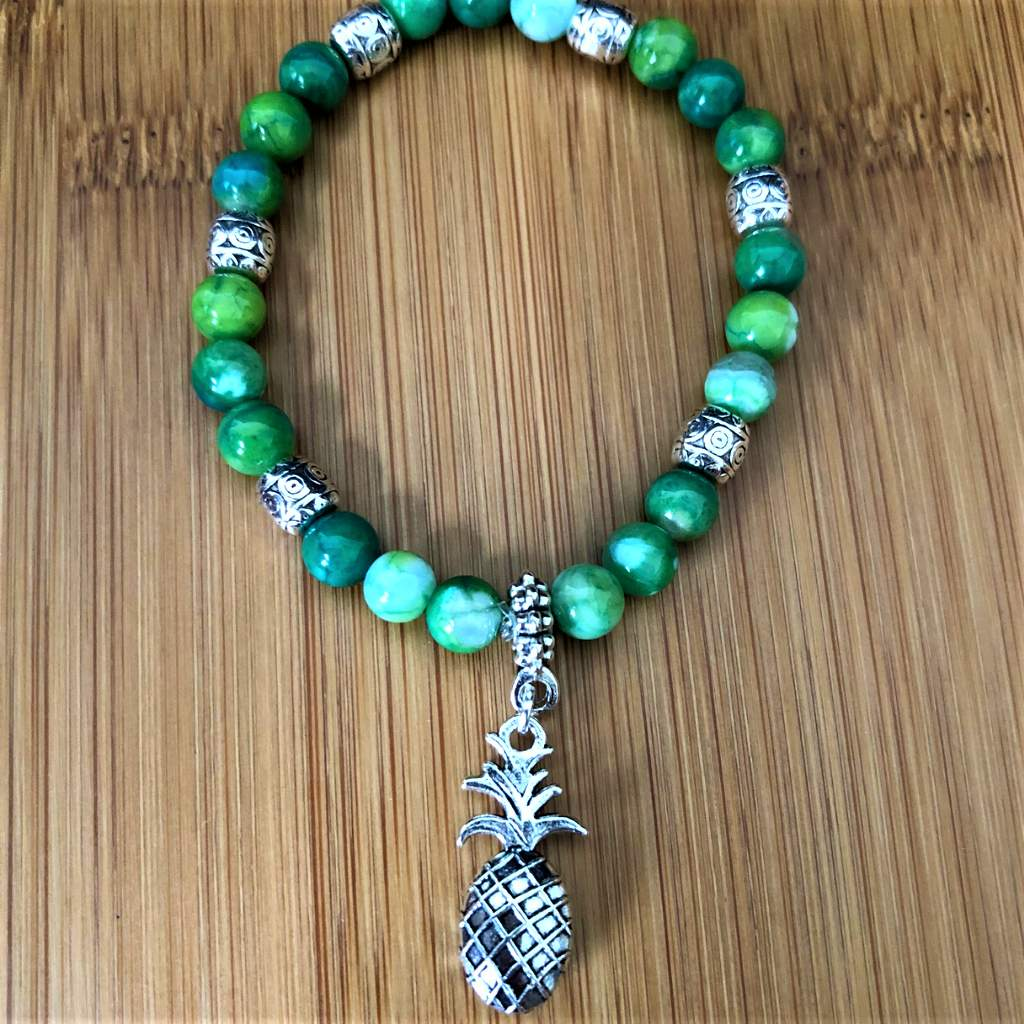 Parrot Green Fire Agate Beaded Pineapple Bracelet - JaeBee Jewelry