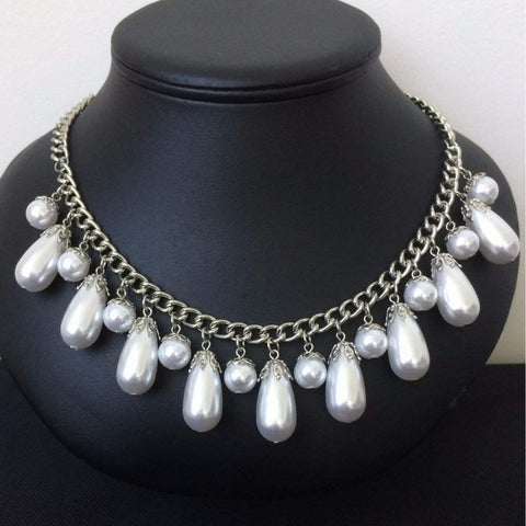 Pearl Drop Statement Necklace