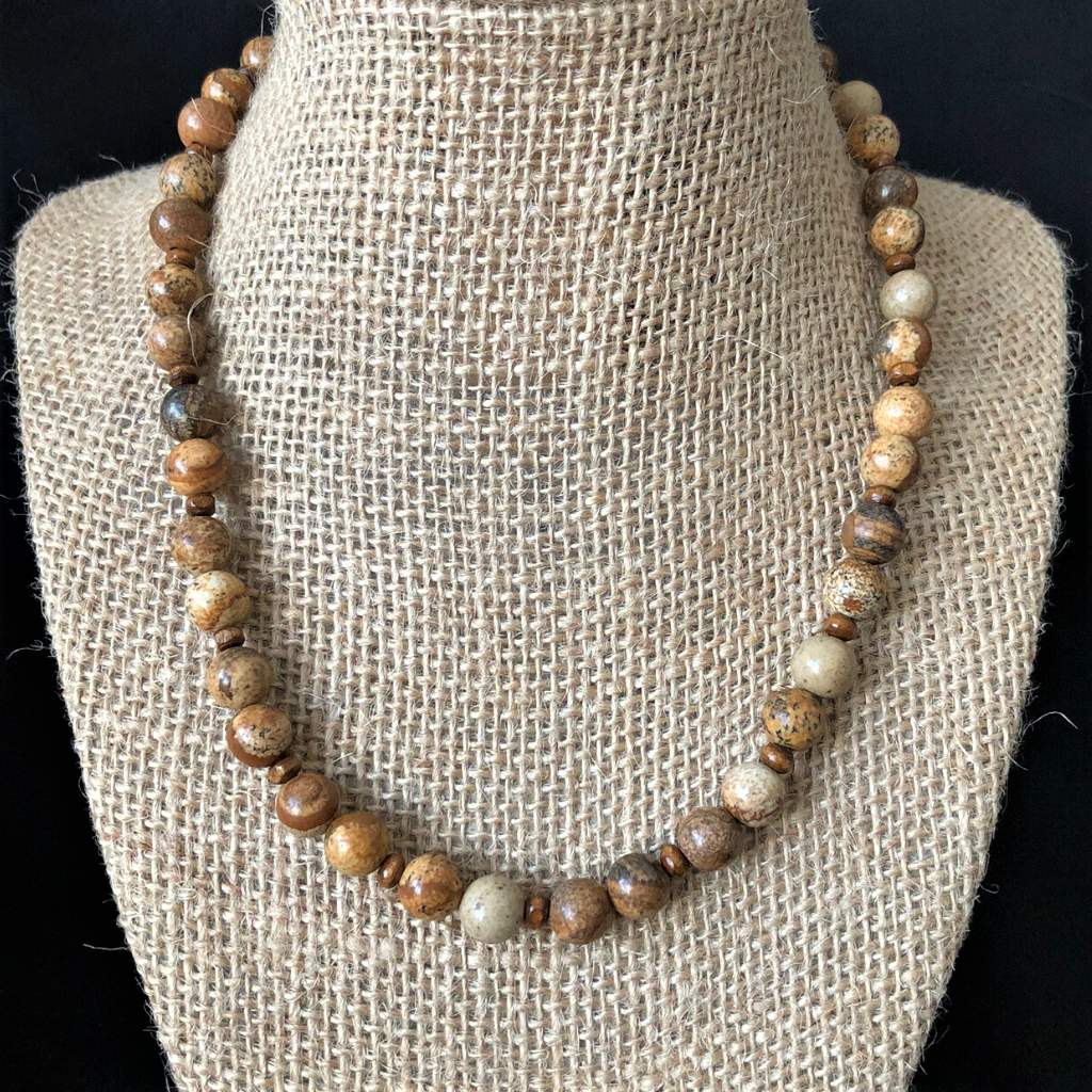 Brown Picture Jasper Mens Beaded Necklace - JaeBee Jewelry