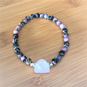 Rhodonite and Rose Quartz Beaded Stretch Bracelet