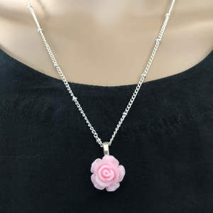 Pink Rose Flower Pendant Necklace - JaeBee Jewelry