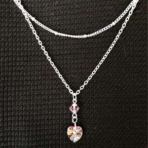 Pink Swarovski Crystal Heart and Stone Layered Silver Necklace - JaeBee Jewelry